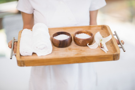 alternative practitioner: Midsection of female masseur holding tray with spa therapy products Stock Photo