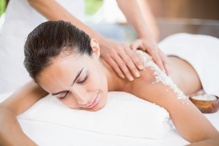Close-up of beautiful young woman receiving spa treatment Stock Photo