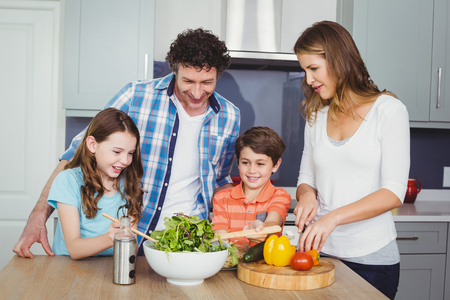 causal clothing: Family preparing vegetable salad in kitchen Stock Photo