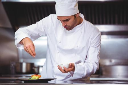 Chef de saupoudrer d'épices sur le plat dans la cuisine commerciale