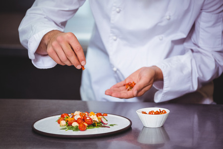 commercial kitchen: Chef sprinkling spices on dish in commercial kitchen Stock Photo