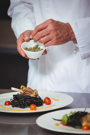 sprinkling: Chef sprinkling spices on dish in commercial kitchen Stock Photo