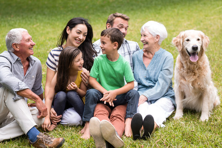 extended family: Portrait of cheerful extended family sitting in the park Stock Photo