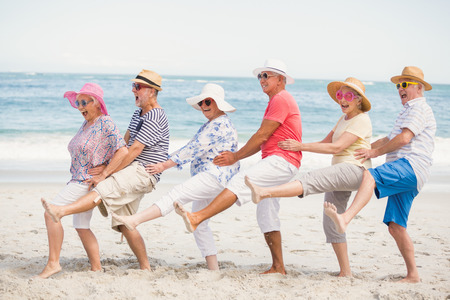 Senior friends dancing on the beach on a sunny day Stock Photo