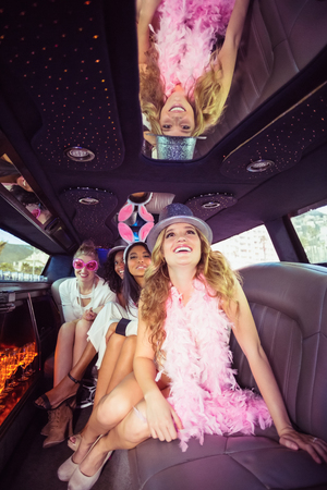 limousine: Frivolous women in a limousine on a night out