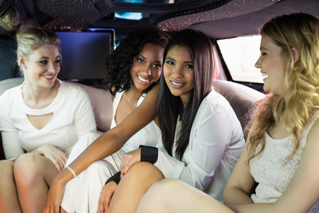 limousine: Well dressed women in a limousine on a night out