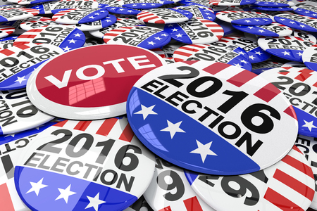 suffrage: Vote button against badges 2016 election