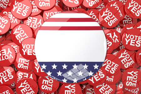 suffrage: American flag button against vote button Stock Photo