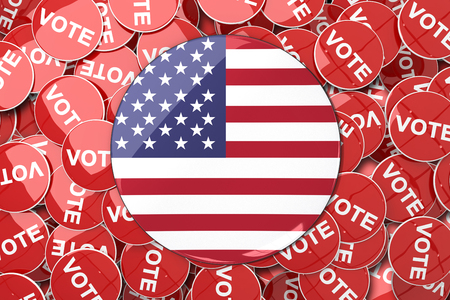 vote button: American flag button against vote button Stock Photo