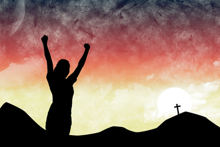 cross arms: Arms raised silhouette woman  against cross religion symbol shape over sunset sky