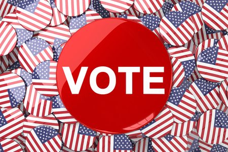 vote button: Vote button against badges with american flag Stock Photo