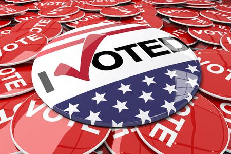 suffrage: Vote button against badge red vote