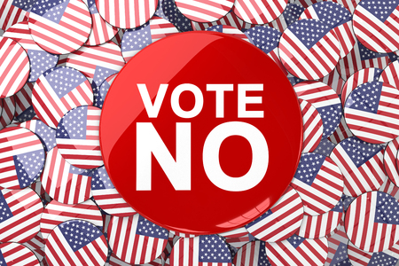 suffrage: Vote button against badges with american flag Stock Photo