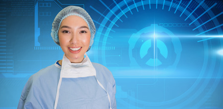 scrub cap: Portrait of surgeon woman against blue technology interface with dial