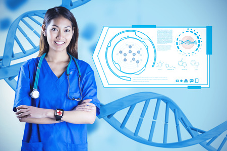 crossing arms: Asian nurse with stethoscope crossing arms against medical background with blue dna helix