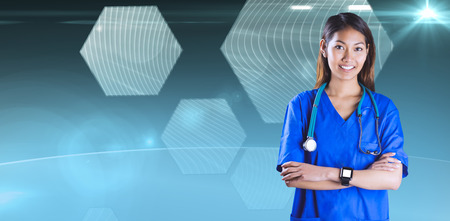 crossing arms: Asian nurse with stethoscope crossing arms against hexagon interface