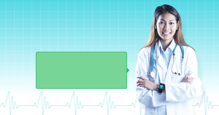 smart grid: Asian doctor with smart watch crossing arms against ecg line on blue grid