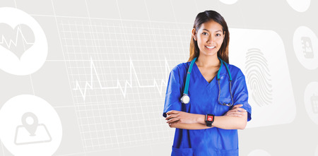 crossing arms: Asian nurse with stethoscope crossing arms against medical icons Stock Photo