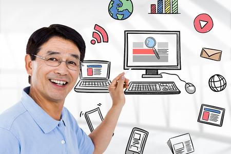 breaking news: Elderly man pointing behind him against breaking news doodle