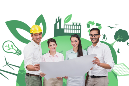 fair trade: Casual architecture team working together against fair trade graphic Stock Photo