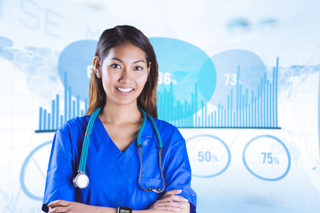 crossing arms: Asian nurse with stethoscope crossing arms against blue data Stock Photo