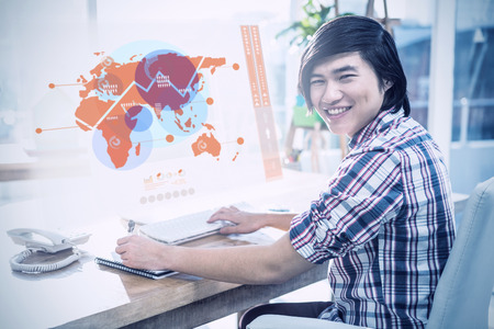asian business: Futuristic interface with the world map  against smiling hipster businessman using computer Stock Photo
