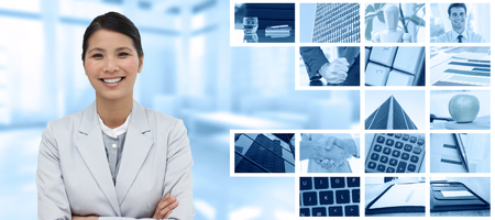 phone professional: Smiling businesswoman with folded arms  against composite image of angry businessman thump the table