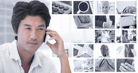 hot temper: Hombre serio en una llamada telefónica sobre imagen compuesta de planta en el escritorio en la oficina