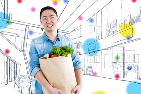 Portrait of man with grocery bag  against sketch of mall Stock Photo