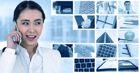 medical man: Businesswoman using her smart phone against composite image of angry businessman thump the table Stock Photo