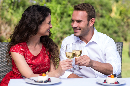 lawn chair: Happy young couple toasting wine while sitting on chair in lawn