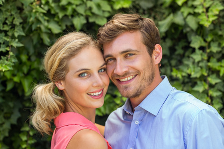 front yard: Portrait of happy romantic couple at front yard