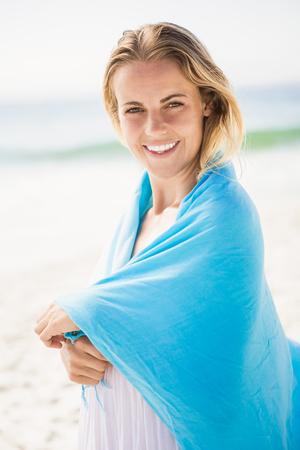 maxi dress: Portrait of blonde woman on the beach