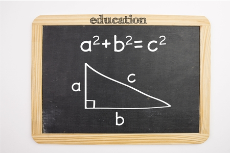 trigonometry: Digital composite of Trigonometry problem on chalkboard Stock Photo