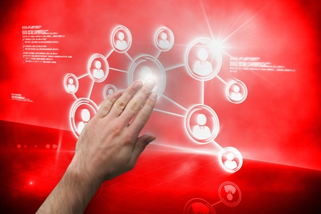 touching: Digital composite of Hand touching interface on red screen Stock Photo