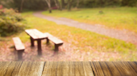 overlooking: Digital composite of Table overlooking park scene Stock Photo
