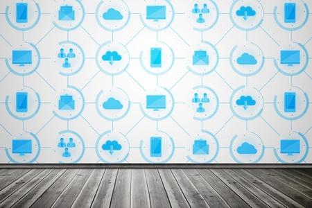 digital composite: Digital composite of App wallpaper in room