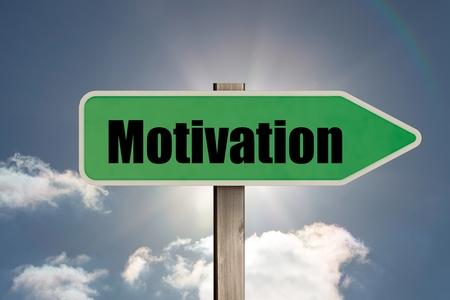 composite: Composite image of green motivation sign against blue sky