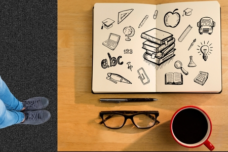 numeracy: Digital composite of Overhead of students desk with notepad