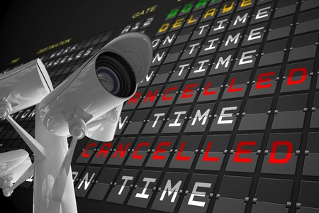 departures board: Digital composite of CCTV under airport departures board Stock Photo