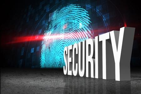 odcisk kciuka: Digital composite of Security concept with fingerprint Zdjęcie Seryjne