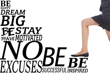 step well: Composite image of businesswoman climbing success stairs on white background Stock Photo