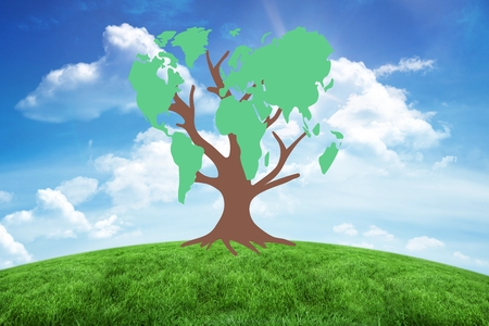 greenness: Composite image of earth tree on blue sky background