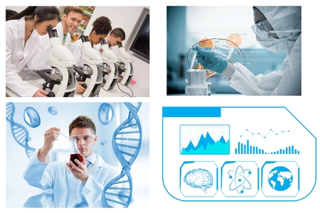 experimentation: Collage of scientists in a laboratory on white background