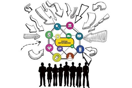 personas comunicandose: Imagen compuesta de hombres de negocios y los iconos de redes sociales en el fondo blanco Foto de archivo