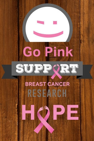 cancer research: Composite image of breast cancer research on wooden background Stock Photo