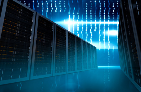 composite image: Composite image of server room on data background