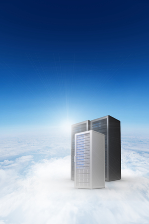 composite image: Composite image of server towers on sky background