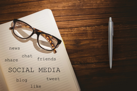 mindmap: Notebook with social media terms lying on a table