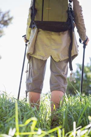 nordic walking: Woman nordic walking in the countryside